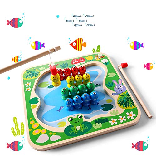 YMUUIHC Juguetes De Madera, Pesca Magnética, Pesca Magnética para Niños Ajedrez Volador Juguetes Educativos Dos En Uno,Adecuados para Niños De 3 A 6 Años.