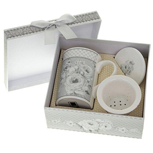 Vintage Porzellan Teetasse mit Teesieb in Geschenksverpackung - Englische Teetasse - Kräuter Teetasse Blumendesign - Geschenkbox