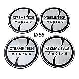 4x Silikon Aufkleber / Embleme für Nabenkappen | Motiv: XTREME TECH Racing | Durchmesser: 55 mm