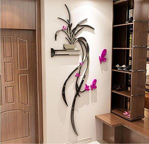 Preisvergleich Produktbild Wall sticker blumen und pflanzen hanging orchideen 3d acryl stereo schlafzimmer tv hintergrundwand die mauer corsage-A 90x190cm(35x75inch)