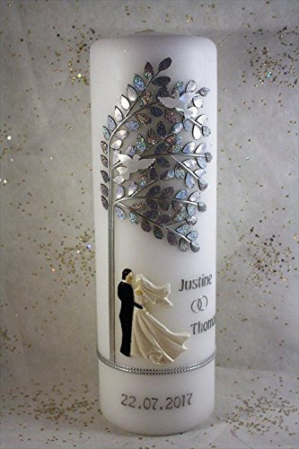 Hochzeitskerze mit Namen & Datum H-85s