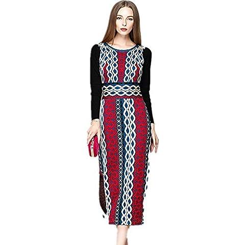ZZHHH Vestido de lana de las mujeres con vestido de punto Jacquard geométrica . b . m