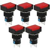 Lámpara roja 1pcs DC 24V 1 NA 1 NC rectangular pulsador momentáneo interruptor de botón