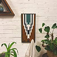 Small Coat Rack with 3 cast iron hooks and Navajo Style Design