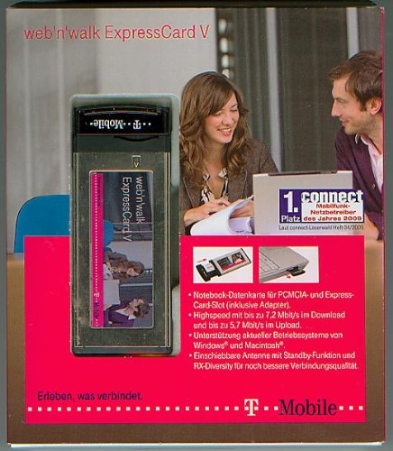 T-Mobile - UMTS - web\'n\'walk ExpressCard V - Mobilmodem - Plug-in-Modul - mit Express Card Adapter - 7,2 Mbits [simlock frei, mit Kurz- u. Installationsanweisung, Original-Verpackung, OVP ]