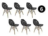 IBH DESIGN Lot 6 Chaises Madrid – Noir – chaises scandinaves – Chaise Salle à Manger (Noir, 6)