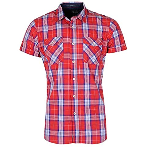 Crosshatch Turn Up Short Sleeve Check Shirt -Red-M