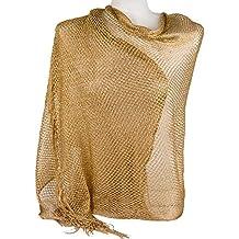 Emila Stola cerimonia coprispalle elegante con frange a rete foulard scialle  grande lurex da matrimonio per 9d11e6f14ab