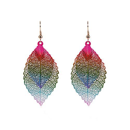 MOTOCO Vintage Farbe verlässt lange Quaste Ohrringe für Frauen Schmuck(Mehrfarbig)
