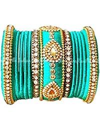 Blue Jays Hub Silk Thread Bangle Set Of 13,Light Green Color With New Design Kundans For Women/Girls