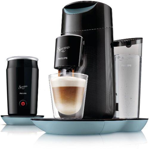 Philips Senseo Twist & Milk - Cafetera monodosis, color negro y azul (importada)