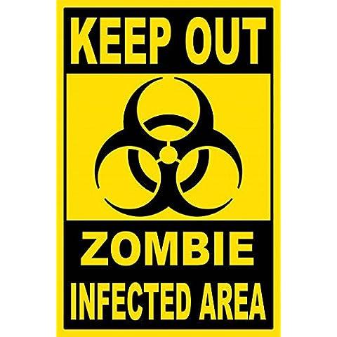 Zombies - Keep Out, Zombie Infected Area Cuadro, Lienzo Montado Sobre Bastidor (120 x 80cm)