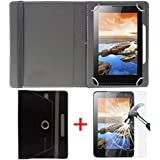 "Hello Zone Exclusive 360° Rotating 8"" Inch Flip Case Cover + Free Tempered Glass For Huawei MediaPad T3 8.0 -Black"