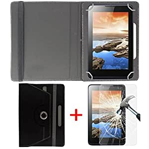 """Hello Zone Exclusive 360° Rotating 8"""" Inch Flip Case Cover + Free Tempered Glass for Asus ZenPad 8.0 Z380KL 2GB RAM -Black"""