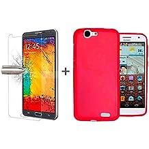 TBOC® Pack: Funda de Gel TPU Roja + Protector Pantalla Vidrio Templado para Huawei Ascend G7. Funda de Silicona Ultrafina y Flexible. Protector de pantalla Resistente a Golpes, Caídas y Arañazos.