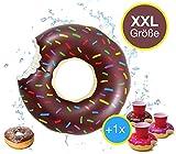 XXL Aufblasbarer angebissener Donut mit Biss Schwimmring Schwimmreif Luftmatratze Schwimmkissen für Pool, mit 1x aufblasbaren Getränkehalter für Cocktails, Getränke uvm. (Brauner Donut)