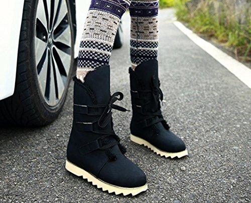 Backbuy Femme Fille épais Bottine Courtes Bottes Pour la Neige Lacets Up Bottes Noir