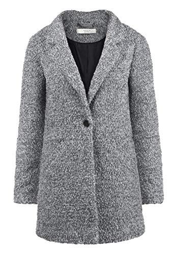 ONLY Berta Boucle Damen Winter Jacke Wollmantel Winterjacke Mantel aus Bouclé mit Reverskragen, Größe:M, Farbe:Light Grey Melange Kurzer Wollmantel