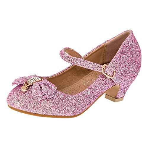 Cherine Festliche Mädchen Glitzer Pumps Leder Innensohle M383pi Pink 32