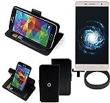 K-S-Trade® Case Schutz Hülle Für -Cubot H1- + Bumper Handyhülle Flipcase Smartphone Cover Handy Schutz Tasche Walletcase Schwarz (1x)