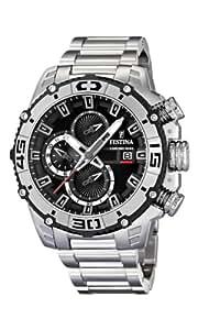 Festina Chrono Bike 2012 Men's Quartz Watch with Black Dial Chronograph Display and Silver Stainless Steel Bracelet F16599/3