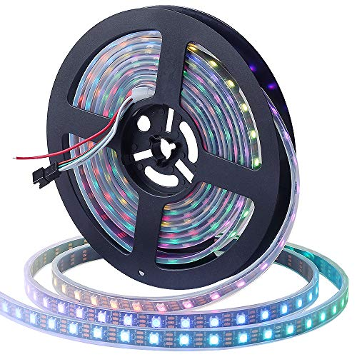 CHINLY 5m WS2812B Luz de tira de LED individualmente direccionable 5050 RGB SMD 300 Pixeles Color del sueño Impermeable IP67 Negro PCB 5V DC
