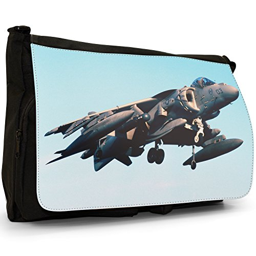 Fancy A Bag Borsa Messenger nero AV-8B Harrier US Navy Plane AV-8B Harrier US Navy Plane