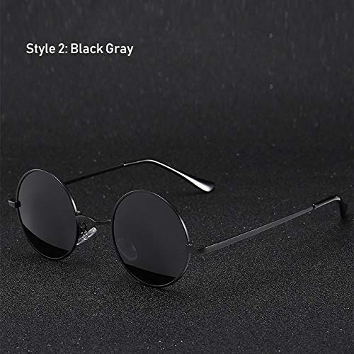 Yangjing-hl Retro Klassische Vintage Runde Polarisierte Sonnenbrille Männer Markendesigner Sonnenbrille Metallrahmen Schwarze Linse Brillen Fahren