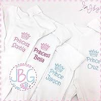 Personalised baby sleepsuit, Prince/Princess crown onsie baby grow, new baby gift, baby shower