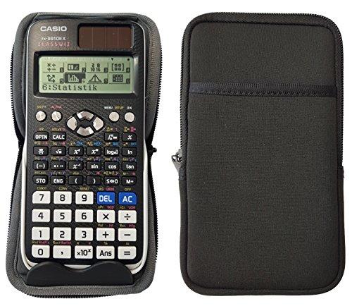 Libetui Schutztasche Hülle Aufsteller für Taschenrechner bis 16,2x8cm z.B. Casio FX-991DE Plus, FX-82DE Plus, FX-85DE Plus, FX-991DE X Farbe Schwarz