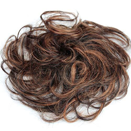 PRETTYSHOP 100% Echthaar Humanhair Haargummi Haarteil hairpiece Haarverdichtung Zopf Haarband Haarschmuck div. Farben (braun mix #2H30)