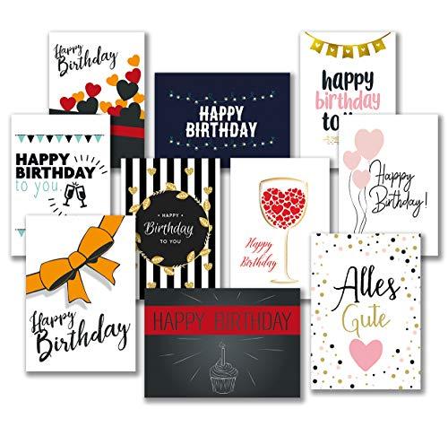 30 Premium Geburtstagskarten und Umschläge – inklusive E-Paper mit den schönsten Geburtstagsgrüßen für den Selbstdruck – 10 hochwertige Geburtstagskartendesigns – 100{bf574ffe5f87fd4e232eb2712cd087c1670a2bc710a19f49c612be4c61afb52a} Made in Germany – von Davom