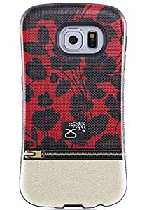 Galaxy S6 Edge Case, Red and Black Flora, Tough Shield Drop Protection Soft Interior Scratch Resistant Perfect-Fit Shock Absorbing Non-Slip Hybrid Hard Armor Case for Galaxy S6 Edge - GE6SS035