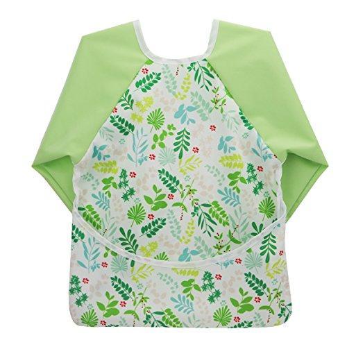 Lange Sleeved Bib (Hisprout Unisex Infant Kleinkind Baby Super Wasserdicht Lätzchen mit Ärmeln, wiederverwendbar Lätzchen mit Ärmeln & Pocket, Multi Muster, 6-24 Monate)