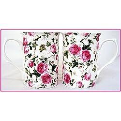 2 tazas de porcelana de Rosas Flores. tazas pintada a mano en el Reino Unido