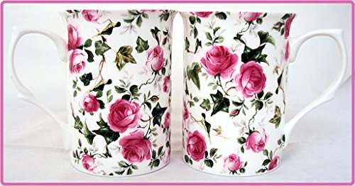 Ivy Rose Tassen, Set von 2 Fine Bone China Pink Roses Flowers Tassen, Hand-dekoriert in Großbritannien) Dunkelviolett Ivy Bone China