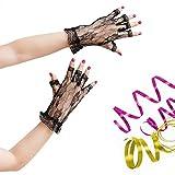 Oblique-Uniuqe® Netzhandschuhe Schwarz mit Spitze - Einheitsgröße