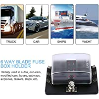 likkas 6 Way LED Illuminated Automotive Blade Fuse Holder Box Circuit Fuse Block 32V 25A for Autos Airplanes Tankers Ships