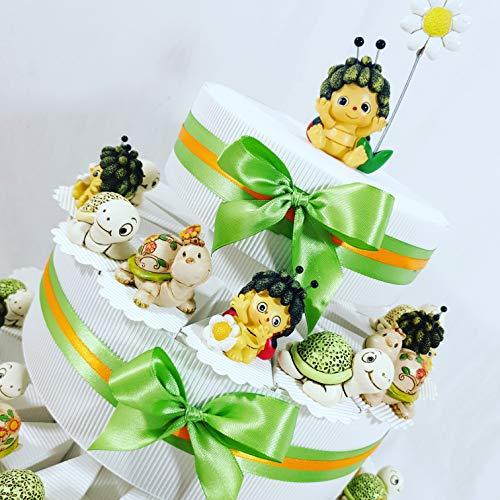 Torta bomboniera Battesimo Bimba/o animaletti Misti Completa di Confetti Colorati (Torta 3 Piani 35 fette)