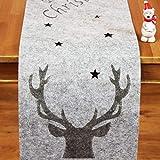 Kamaca Filz Tischläufer Merry Christmas mit Sternen gelasert - in Filz - Optik - EIN besonderes Schmuckstück auf jedem Tisch - Herbst Winter Weihnachten (GRAU, Tischläufer 30 x 120 cm)