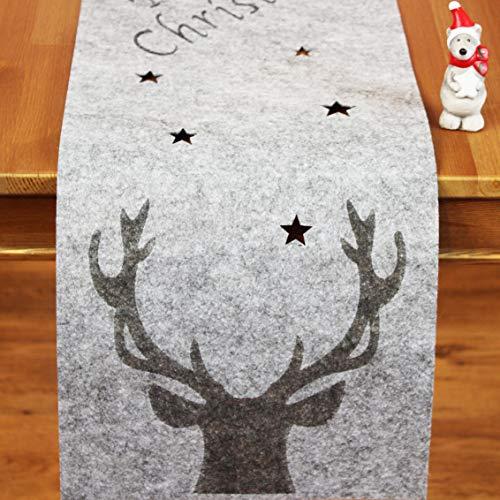 KAMACA FILZ - Tischläufer MERRY CHRISTMAS aus Filz mit Sternen gelasert und mit einem Hirschgeweih verziert - Läufer Größe 30x120 cm - sehr hochwertig - in wunderschöner dicker Filz - Optik - ein besonderes Schmuckstück auf jedem Tisch - aus dem KAMACA-SHOP - Herbst Winter Weihnachten (GRAU, Tischläufer 30 x 120 cm)