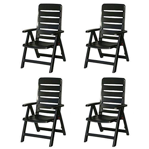 4 Kettler Nizza Gartenstühle in anthrazit Klappsessel Gartenmöbel Sessel