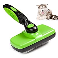 Self Cleaning Slicker Brush for Dogs and Cats, Groomer Shedding Grooming Tools Combs Rakes, Gently Removes Shedding Mats Tangles Knots Loose Hair & Undercoat, Fits for Short & Long Hair Breeds Animals