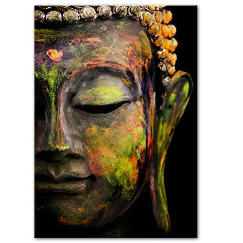 DQPCC Kunstdruck auf Leinwand Lebendige Große Buddha Gesicht Wandkunst Leinwand Buddhismus Leinwandbilder Für Wohnzimmer Wandkunst Leinwandbilder (50X70 cm)