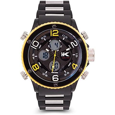 Yaki nuovo uomo guarda impermeabile orologio elettronico analogico sportivo nero gialla