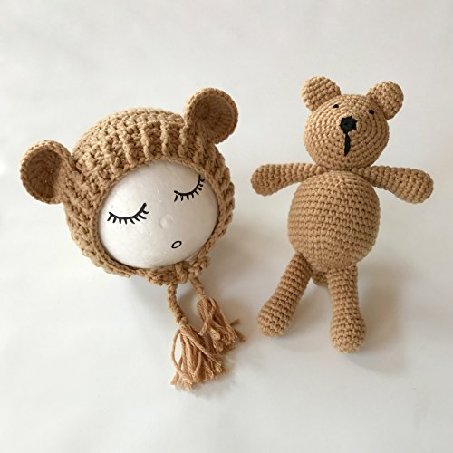 Imagen de bebé recién nacido fotografía apoyos niño niña gorro de crochet disfraz trajes oso set caqui talla mediano alternativa