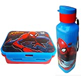 Pawan Plastic Marvel Spider Man Printed Lock And Seal Gift Set Of 550 Ml Lunch Box With Flip Cap Sipper Water Bottle With Handling Straps For Kids, ( Prints May Vary Medium)