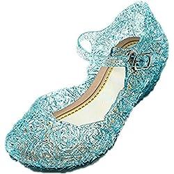 GenialES Disfraz Sandalias de Vestido con Tacón Plástico Princesa Queen Azul para Cumpleaños Carnaval Fiesta Cosplay Halloween Niña EU30/175