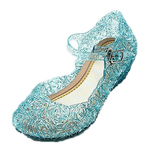 Disfraz Sandalias de Vestido con Tacón Plástico Princesa Queen Azul para Cumpleaños Carnaval Fiesta Cosplay Halloween Niña EU32/185
