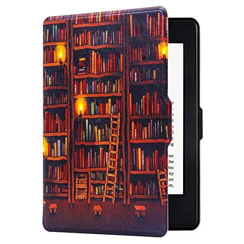 Huasiru Pintura Case Funda para Amazon Kindle Paperwhite (versiones 2012, 2013, 2015, 2016 y 2017) Cover con Auto Despertar / Dormir, Biblioteca